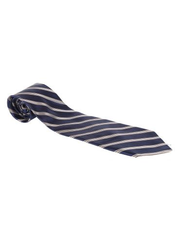 DKNY Navy & Silver Striped Tie
