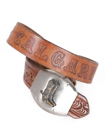 Calgary Brown Tooled Leather Western Belt