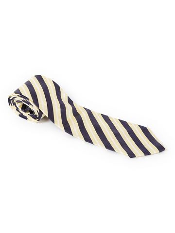 Burberry Navy Blue & Yellow Stripe Silk Tie